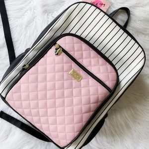 NWT Betsy Johnson striped pink and black backpack